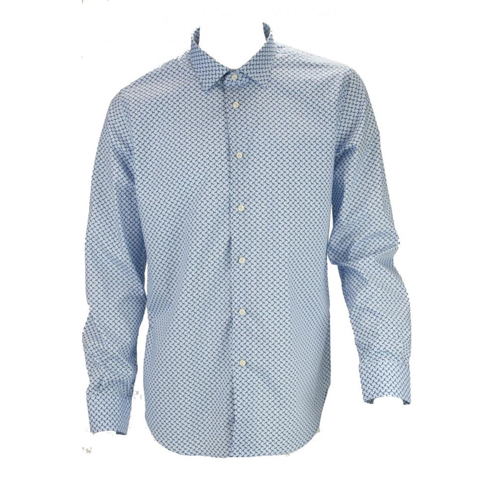 Camicia Uomo Slimfit Bassotti Azzurro e Blu - Philo Vance - Medina
