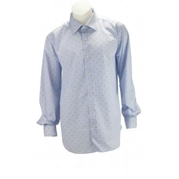 Shirt für Herren, Blau Gemusterten streifen und Polka-dot-Stoff, Popeline Ohne Brusttasche - Philo Vance - Bordeaux
