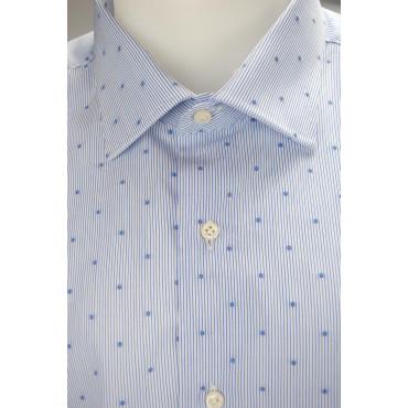 Camicia Uomo Azzurro Fantasia a Righe e Pois Tessuto Popeline Senza Taschino - Philo Vance - Bordeaux