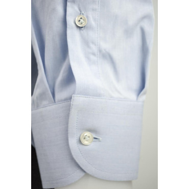 Man shirt light Blue Patterned Stripes and polka Dots Poplin Fabric, Without Pocket - Philo Vance - Bordeaux