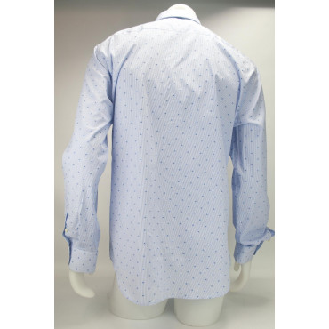 Shirt Man Dress Blue Geometric design Fabric Woven Without a breast Pocket - Philo Vance - Brescia
