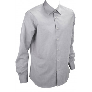 Shirt Man Dress Grey Light Poplin Filafil - Philo Vance - Cornflower