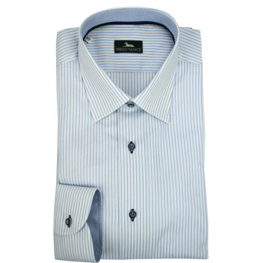 Man Shirt 41 M White Lines Heavenly - Philo Vance - Istanbul