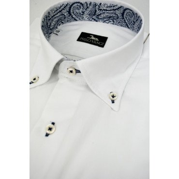 Shirt Man Dress neck Business - White finish - Blue with chest pocket