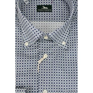 Camicia Uomo 41 M Button Down Biana Fantasia Geometrica - Philo Vance - Kampala
