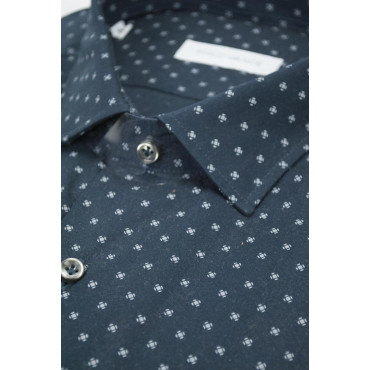 Man shirt 41 M French Dark Blue Fancy polka dot - Philo Vance - Ortisei