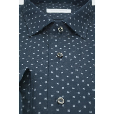 Camicia Uomo 41 M Francese Blu Scuro Fantasia a Pois - Philo Vance - Ortisei