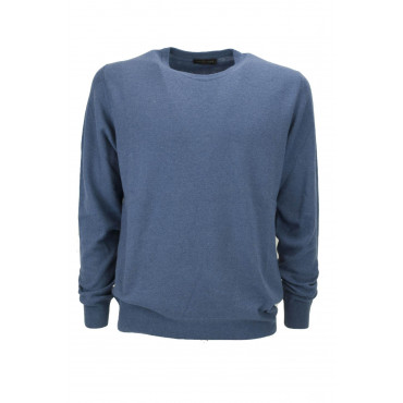 Mens Pullover Classic Crew Neck Cashmere Wool Sweater Slim 2-Wire