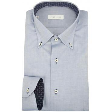 Camicia Uomo Casual 41 M Button Down Blu Jeans - Philo Vance - Ledro