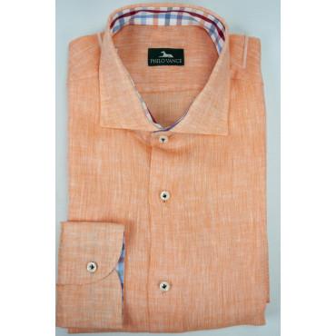 Camicia Uomo Slim 41-16 collo Francese Arancio Salmone Puro Lino - Philo Vance