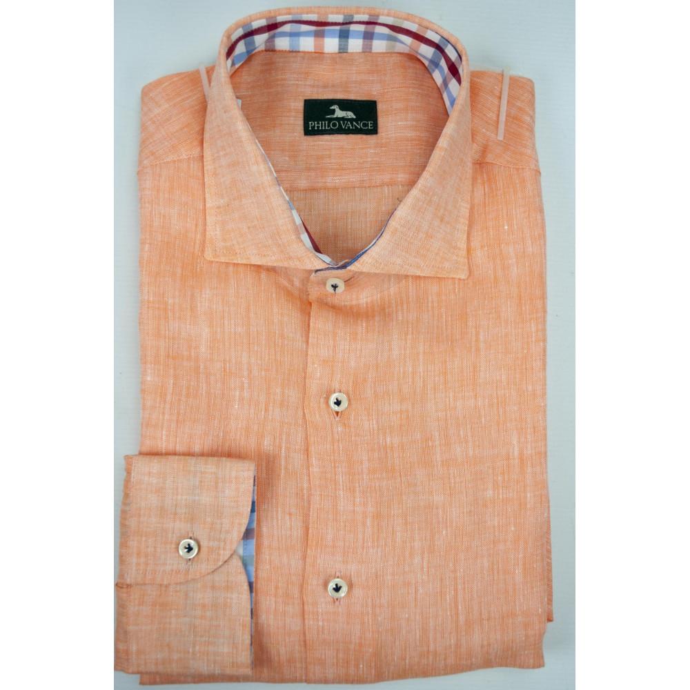 Man shirt Slim 41-16 neck French Orange Salmon Pure Linen - Philo Vance