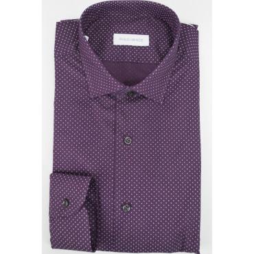 Camicia Uomo Slim Fit da Abito 41 M Francese Bordeaux a Pois - Philo Vance - Emilia