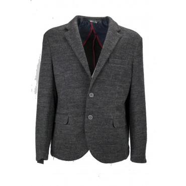 Chaqueta de hombre 52 lana gris oscuro gris oscuro 2 botones - Slim Fit