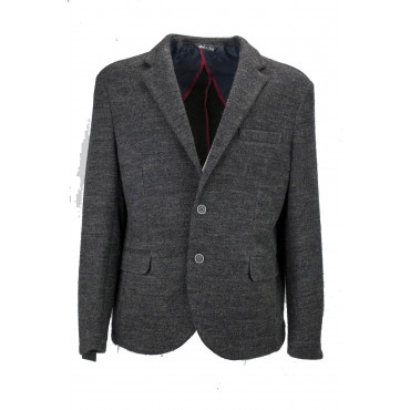 Jacket Mens 52 Dark Grey Grisaille Wool 2-Button Placket - Slim Fit