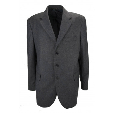 Men's Jacket 56 Gray Fabric Wool Cloth 3 Buttons Lined - Classic Fit