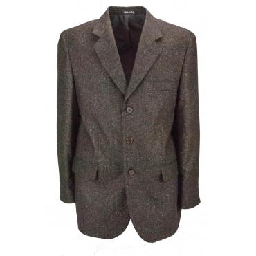 Giacca Uomo 54 Thickbox Marrone Panno Lana 3Bottoni - Vestibilità Classica