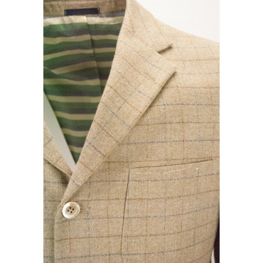 Men's Slim Jacket 48 Beige Wool Checks - Alessandro Tellini
