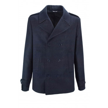 Jacket Double-Breasted Man, 54 Dark Blue Cloth Wool - Classic Fit