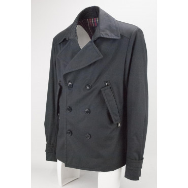 Double-Breasted Jacket Man 54 XXL Dark Blue Padded Scottish Tartan Red - Montereggi