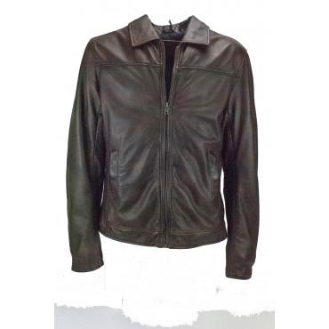 Men's Leather Jacket 50 L Brown Vintage Effect - Impervela