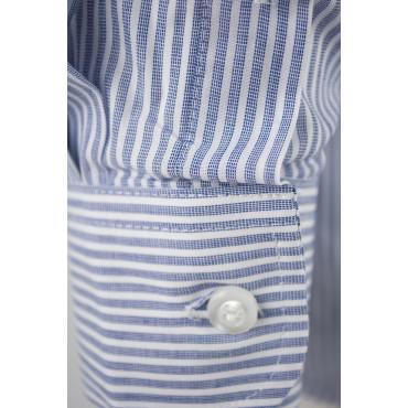 Camicia Uomo Classica Righe Blu Bianco Popeline - Button Down - Grino