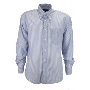 Man Shirt Classic Blue White Poplin - Button-Down - Grino