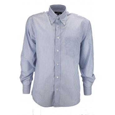 Man Shirt Classic Blue White Poplin - Button-Down - Grino