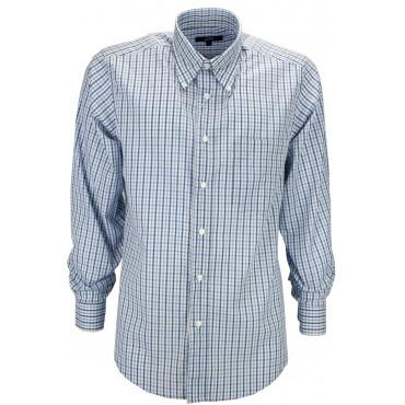 Homme Shirt Classique De Contrôle De Vichy Bleu Clair En Popeline - Button-Down - Grino