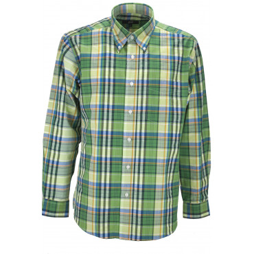 Man Shirt Classic Green Plaid Poplin - Button-Down - Grino