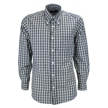 El hombre de la camisa de Cuadros Clásicos, Negro sobre Blanco-Popelina - Botón-Abajo - Grino