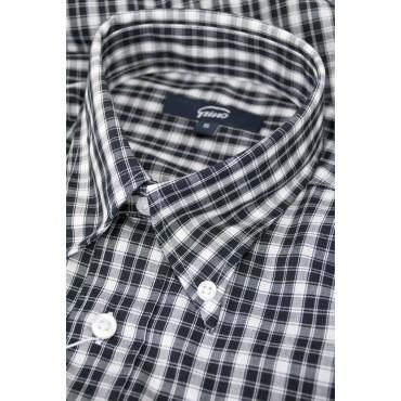 Camicia Uomo Classica Quadri Nero su Bianco Popeline - Button Down - Grino