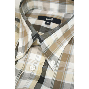 Man shirt Classic Brown plaid Beige on White Poplin - Button-Down - Grino