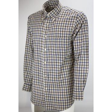 Man shirt Classic Blue plaid Brown Beige Flannel, Lightweight - Button Down - Grino