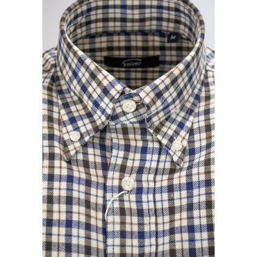 Camicia Uomo Classica Quadri Blu Marrone su Beige Flanella Leggera - Button Down - Grino