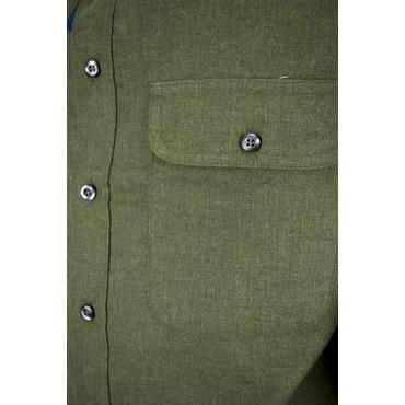 Camicia Uomo Classica Verde Militare Tintaunita Flanella Leggera - Grino