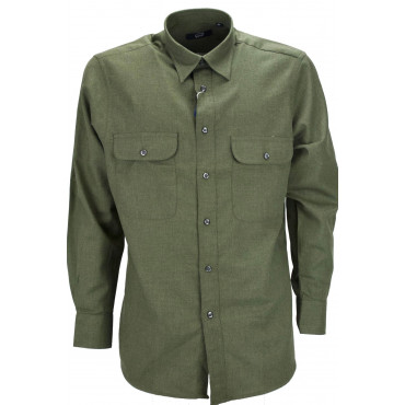 Man Shirt Classic Military Green Tintaunita Flannel Light - Grino