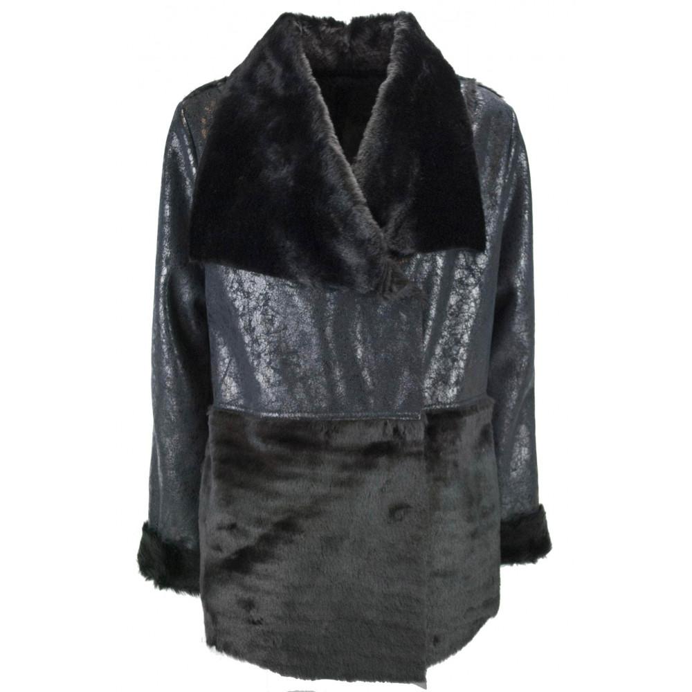 Jacket, Down Jacket Women 42 S Black Glossy Eco Leather - VLab