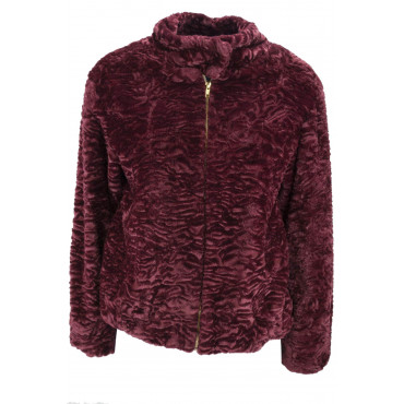 Jacket Woman in Eco Fur Type, Astrakhan 48 XL Purple - VLab