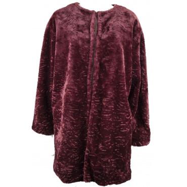 Woman Coat Faux Fur Type Astrakhan 46 L Bordeaux - VLab