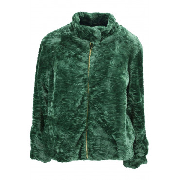 Jacket Woman In Eco Fur Type Astrakhan 46 L Green - VLab
