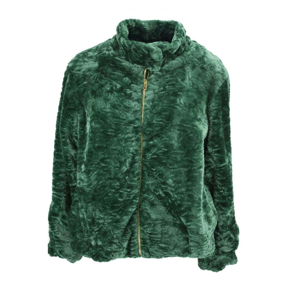 Jacket Woman In Eco Fur Type Astrakhan 46 L Green - VLab