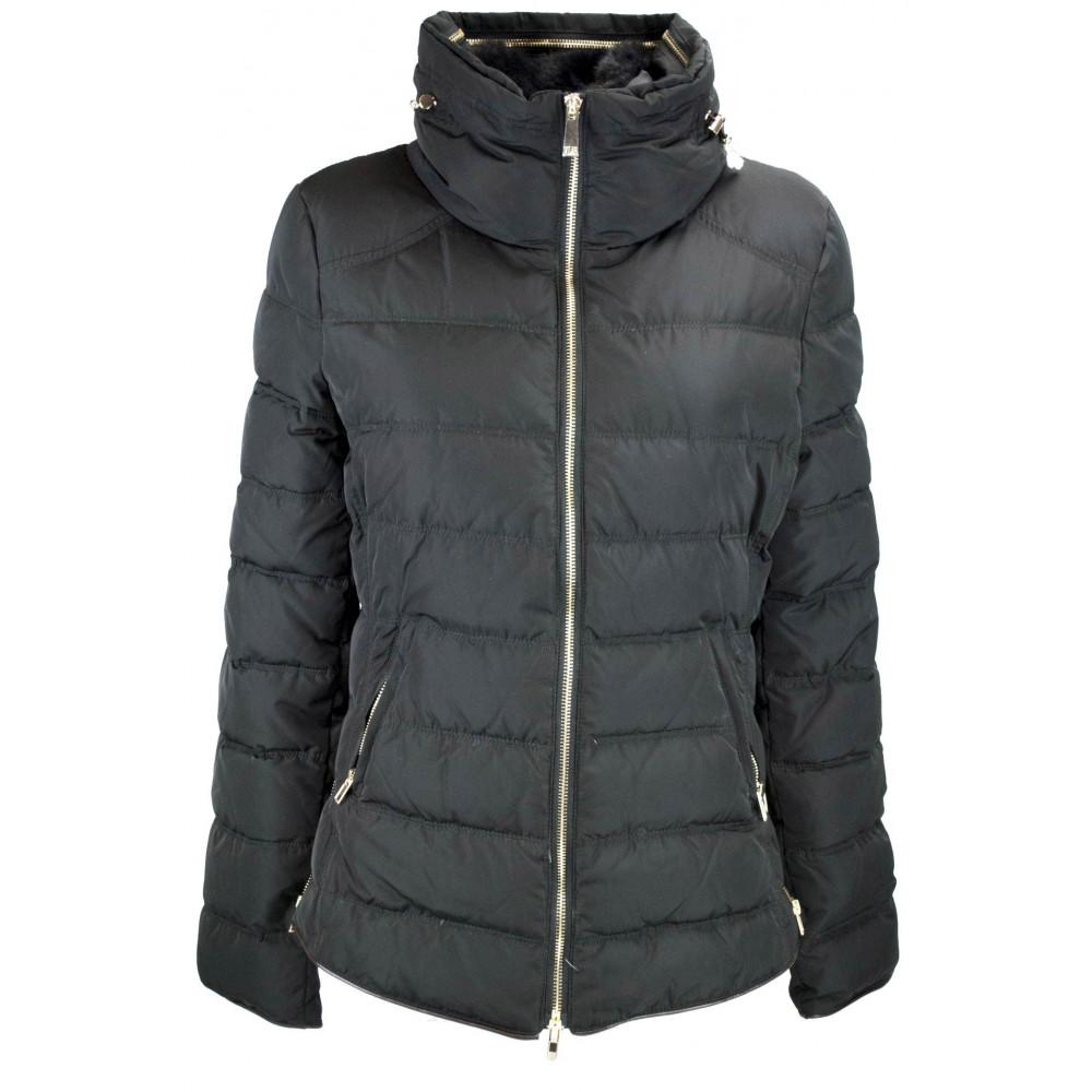 Jacket quilted jacket ladies 44 M Black with Collar, faux Fur - VLab