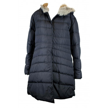 Coat down jacket with Fur Hood Women's 48 XL Black - Victory
