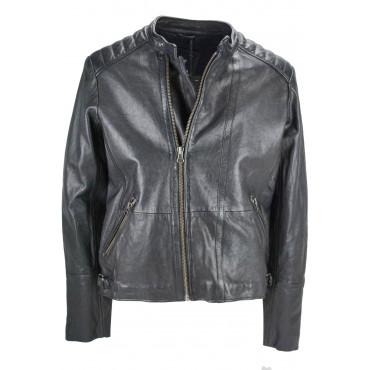 Genuine Leather Jacket Man 50 L Black Biker type Chiodo- Impervela