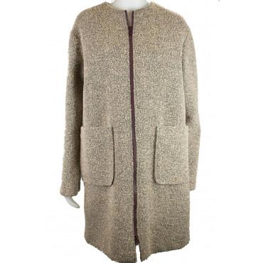 Woman Coat 42 S Boucle Woolen Cloth Beige - Montereggi