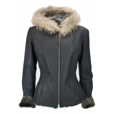 Jacket Shearling Women's 42 S Black Beige Fur Murmaski - Victory