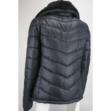 Padded jacket Women's 44 M Black with Fur Collar - Black Mud