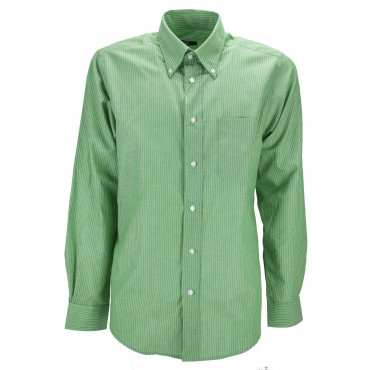Man shirt Green White stripe ButtonDown - M 40-41 - classic fit