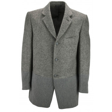 Men's Jacket 50 Gray Wool Patchwork Classic 3Buttons