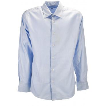 Camicia Uomo Celeste Spina Collo Francese 41 - vestibilità slimfit